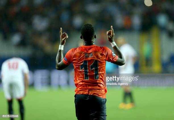 Eljero Elia of Medipol Basaksehir celebrates after scoring a goal during the UEFA Champions League playoff match between Medipol Basaksehir and...