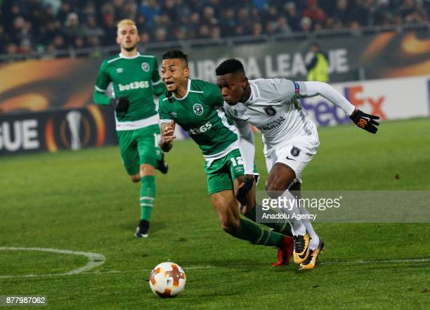 Eljero Elia of Medipol Basaksehir in action against Anicet of Ludogorets during the UEFA Europa League Group C soccer match between Ludogorets and...