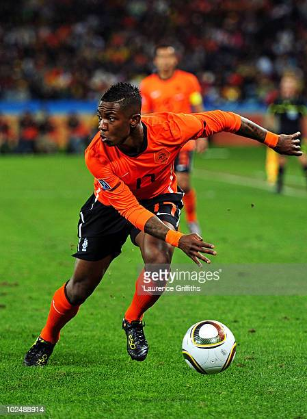 Eljero Elia of the Netherlands in action during the 2010 FIFA World Cup South Africa Round of Sixteen match between Netherlands and Slovakia at...