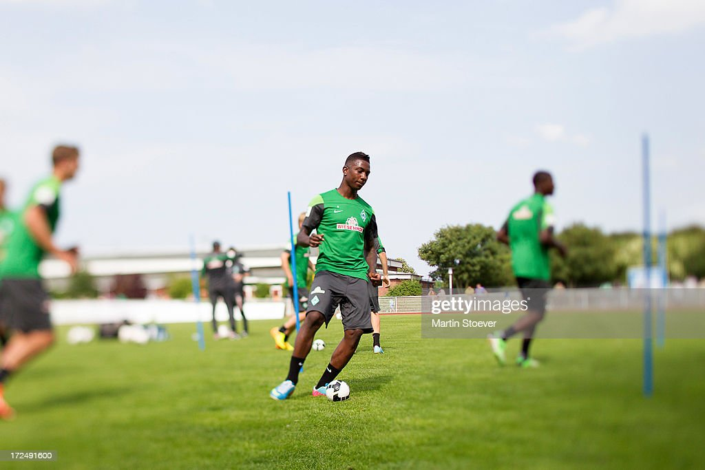 <a gi-track='captionPersonalityLinkClicked' href=/galleries/search?phrase=Eljero+Elia&family=editorial&specificpeople=2199495 ng-click='$event.stopPropagation()'>Eljero Elia</a> of Werder Bremen during a training session on July 2, 2013 in Norderney, Germany.