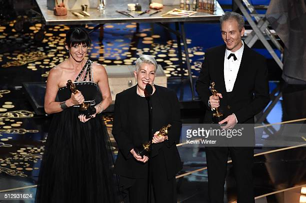 Elka Wardega Lesley Vanderwalt and Damian Martin accept the Best Makeup and Hairstyling award for 'Mad Max Fury Road' onstage during the 88th Annual...