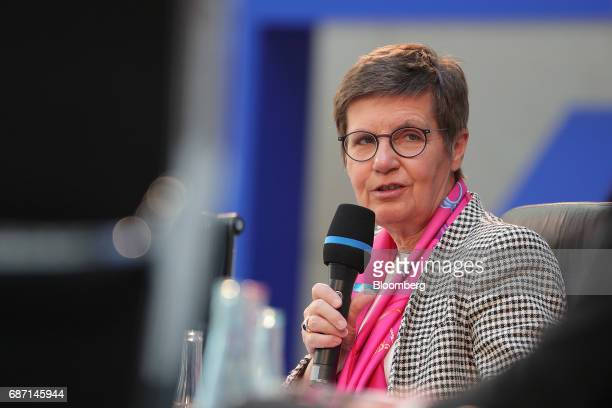 Elke Koenig head of the European Union's Single Resolution Board speaks during a panel discussion at the German Institute for Economic Research in...