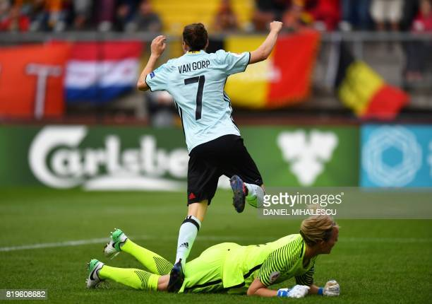 Elke Van Gorp of Belgium runs over Norway's goalkeeper Ingrid Hjelmseth as she celebrates after she scored 10 against Norway during the UEFA Women's...