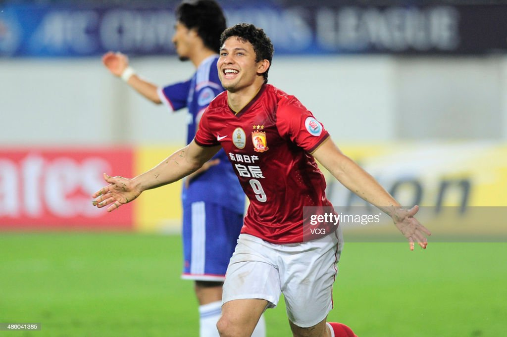 Elkeson de Oliveira of Guangzhou Evergrande celebrates after scoring a goal during the AFC Asian Champions League match between the Guangzhou...