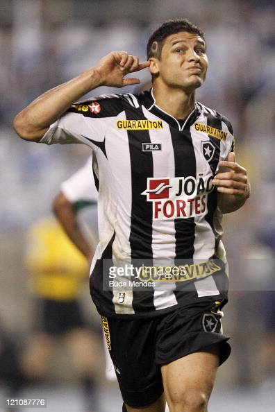 Elkeson of Botafogo celebrates a scored goal aganist America MG during a match as part of Serie A 2011 at Engenhao stadium on August 13 2011 in Rio...