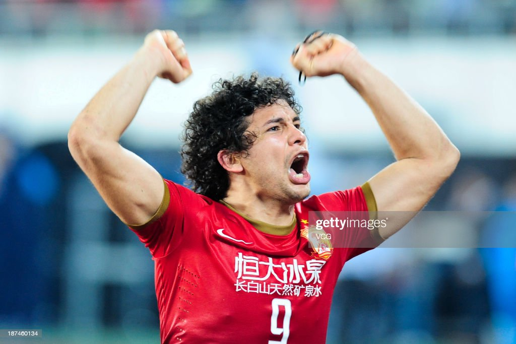 Elkeson of Guangzhou Evergrande celebrates after winning the AFC Champions League Final 2nd leg match against FC Seoul at Tianhe Sports Center on November 9, 2013 in Guangzhou, China.