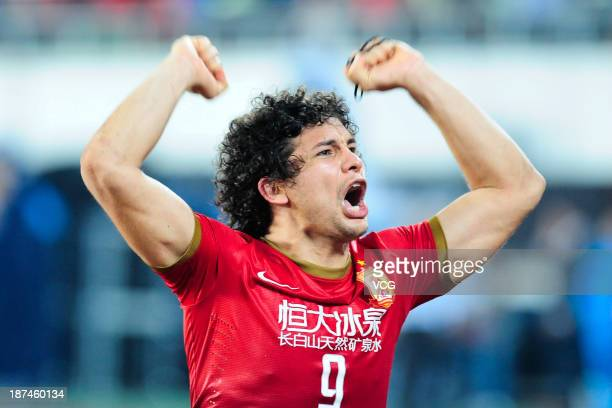 Elkeson of Guangzhou Evergrande celebrates after winning the AFC Champions League Final 2nd leg match against FC Seoul at Tianhe Sports Center on...
