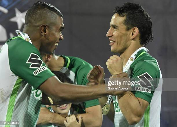 Elkin Blanco and Diego Arias of Nacional after winning a match between Atletico Nacional and Chapecoense as part of CONMEBOL Recopa Sudamericana 2017...