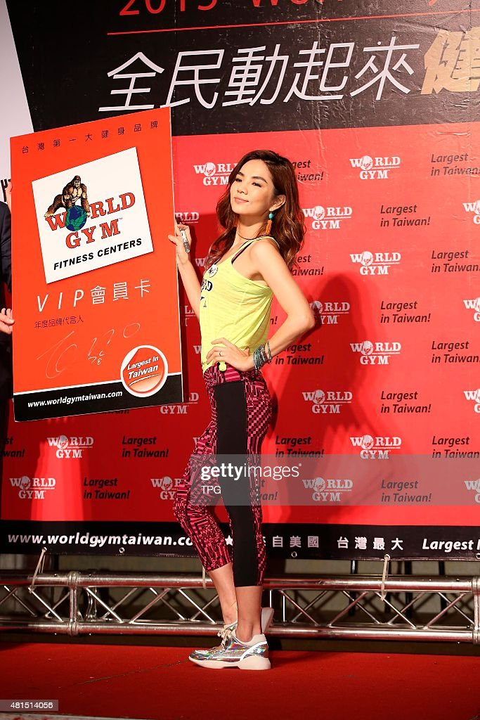 Ella attends the press conference of world gym as celebrity endorser on 21th July, 2015 in Taipei, Taiwan, China.