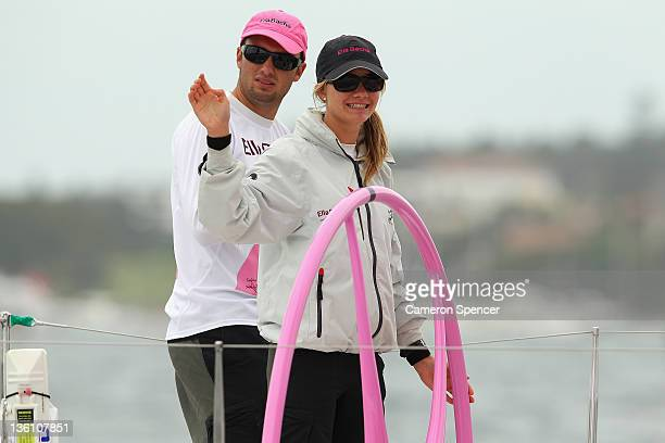 'Ella Bache' skipper Jessica Watson prepares for the start during the 2011 Sydney To Hobart race on December 26 2011 in Sydney Australia