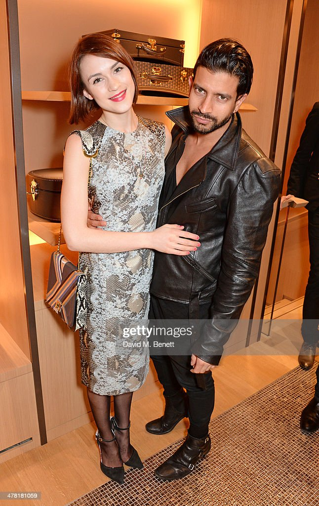 Ella Catliff (L) and Nik Thakkar attend the Moynat London boutique opening on March 12, 2014 in London, England.