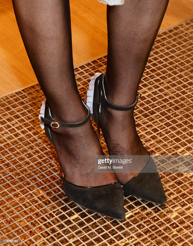 Ella Catliff (shoe detail) attends the Moynat London boutique opening on March 12, 2014 in London, England.
