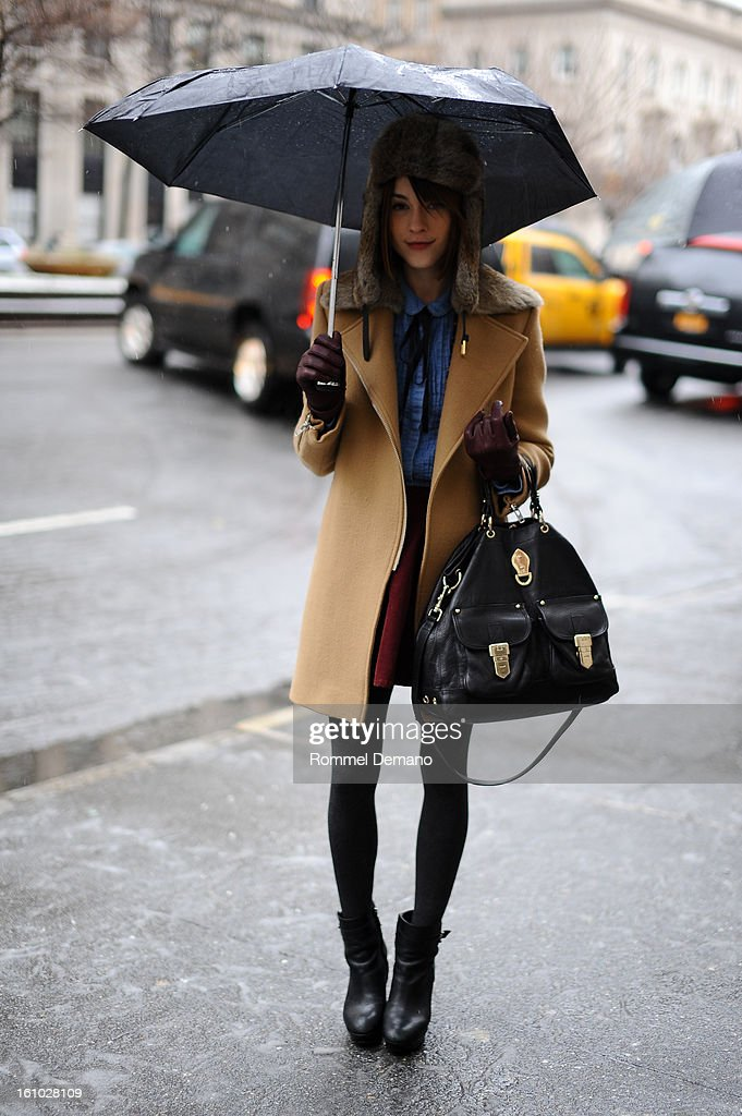 Ella Catliff, Fashion Blogger, attends the Jason Wu show wearing Sandro jacket and Burberry bag at on February 8, 2013 in New York City.