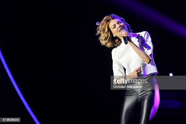 Ella Endlich performs on stage during the tv show 'Willkommen bei Carmen Nebel' at Tempodrom on April 7 2016 in Berlin Germany