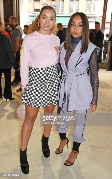 Ella Eyre and Leigh Anne Pinnock attend the Henry Holland SS18 catwalk show during London Fashion Week September 2017 at TopShop Show Space on...