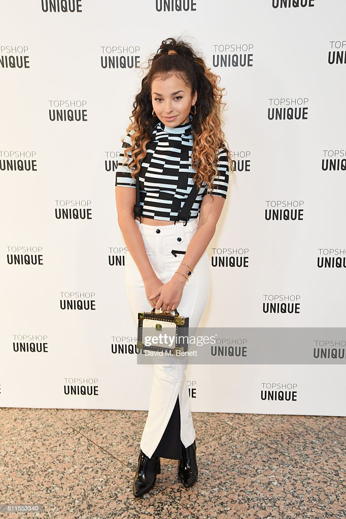 Ella Eyre arrives at the Topshop Unique LFW AW16 show at The Tate Britain on February 21 2016 in London England