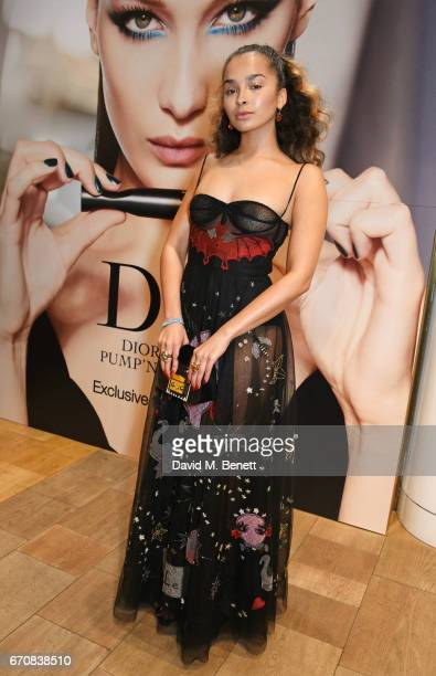 Ella Eyre attends the launch of the Dior Pump 'N' Volume Mascara with Dior spokesmodel Bella Hadid at Selfridges on April 20 2017 in London England