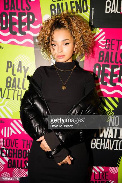 Ella Eyre attends the launch of the Skinnydip x MTV collection at Ballie Ballerson on November 20 2017 in London England