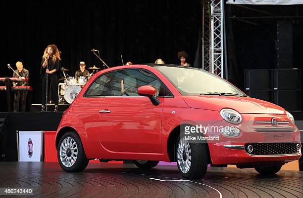 Ella Eyre attends the New Remastered Fiat 500 launch with an exclusive performance by Ella Eyre at Potters Field Park on September 2 2015 in London...