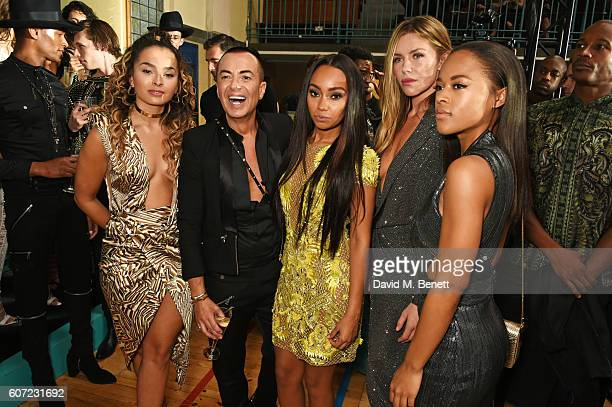 Ella Eyre Julien Macdonald LeighAnne Pinnock Abbey Clancy and Serayah McNeill attend the Julien Macdonald runway show during London Fashion Week...