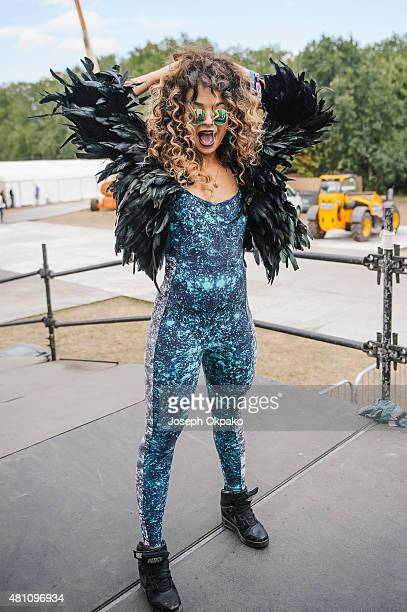 Ella Eyre poses backstage on Day 1 of Lovebox festival taking place at Victoria park on July 17 2015 in London United Kingdom