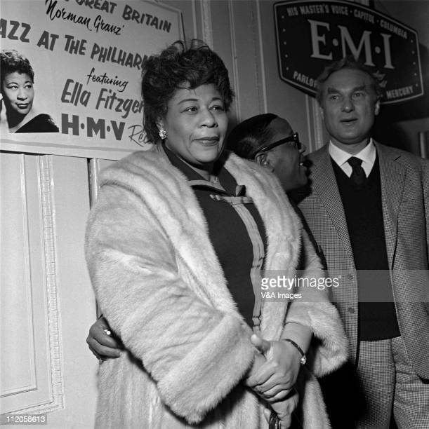 Ella Fitzgerald posed with manager Norman Grantz 1958