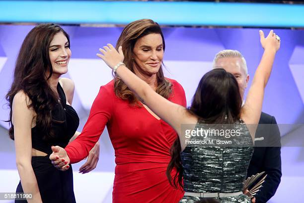 Ella Giselle Caitlyn Jenner and Jazz Jennings accept award for Outstanding Reality Program onstage during the 27th Annual GLAAD Media Awards at the...