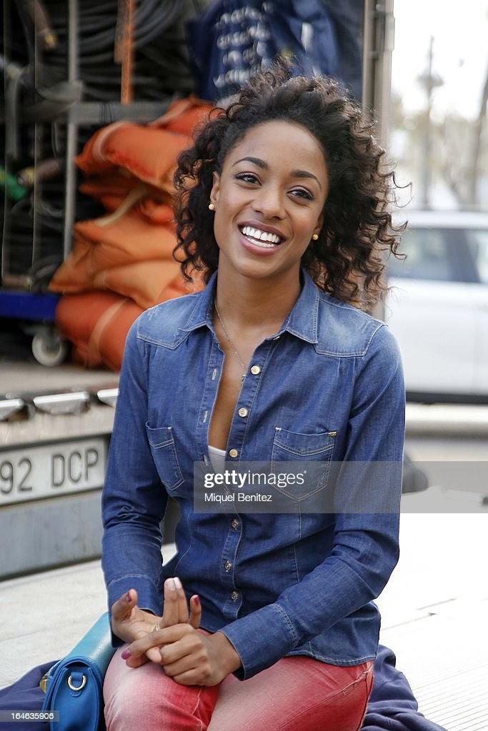 Ella Kweku on the set of her latest film 'Ismael' on March 25, 2013 in Barcelona, Spain.