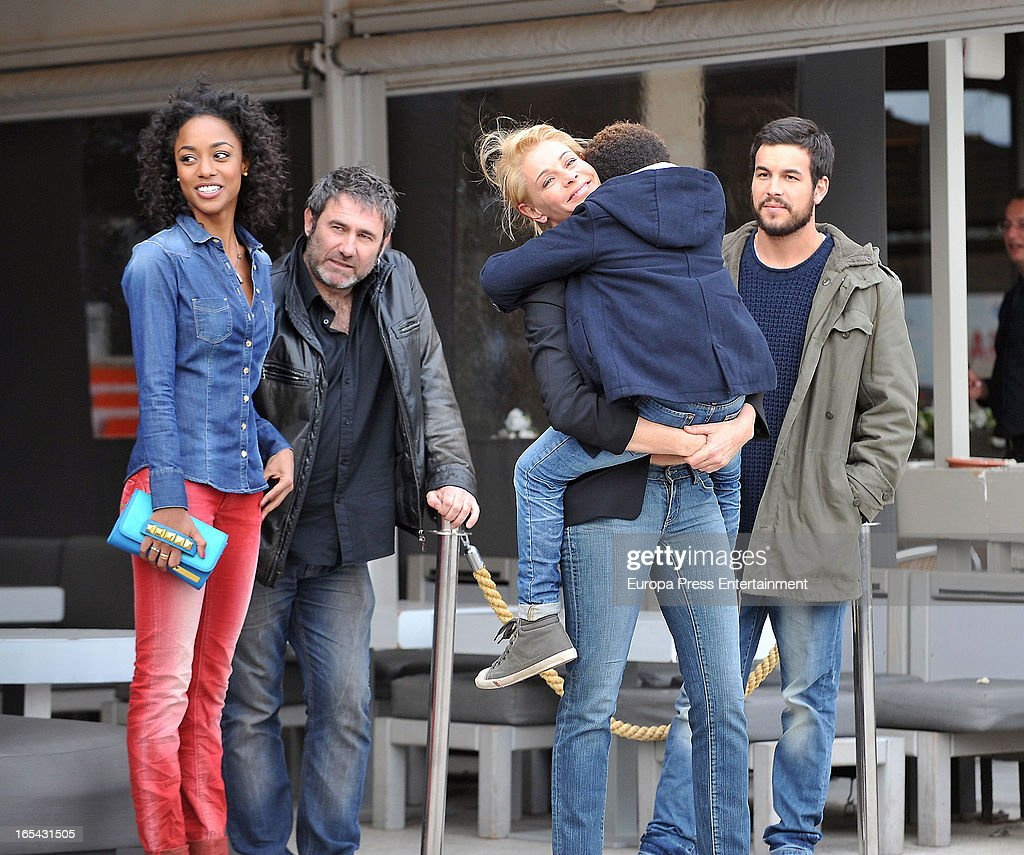 Ella Kweku, Sergi Lopez, Belen Rueda, Larsson do Amaral and Mario Casas are seen on the set of their latest film 'Ismael' on March 25, 2013 in Barcelona, Spain.