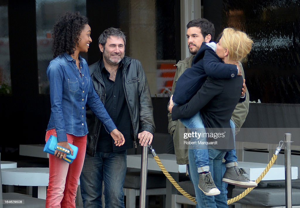 Ella Kweku, Sergi Lopez, Mario Casa and Belen Rueda on the set of their latest film 'Ismael' on March 25, 2013 in Barcelona, Spain.