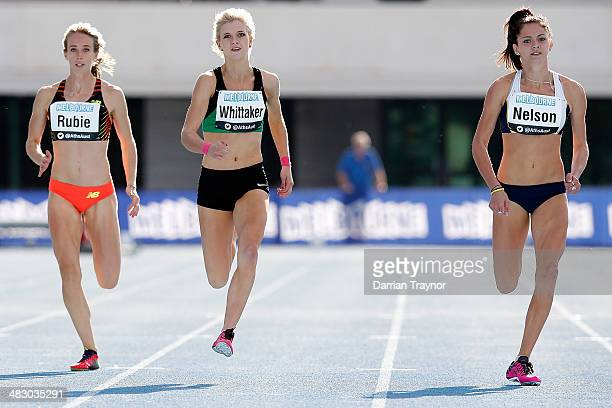 Ella Neison wins the women's 200m during the 92nd Australian Athletics Championships on April 6 2014 in Melbourne Australia