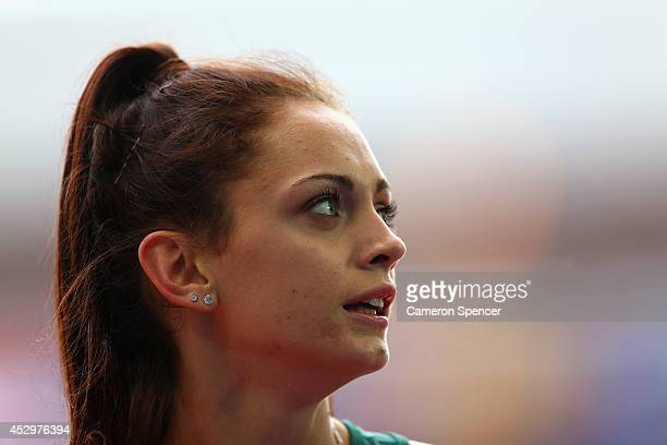 Ella Nelson of Australia competes in the Women's 200 metres semifinal at Hampden Park during day eight of the Glasgow 2014 Commonwealth Games on July...