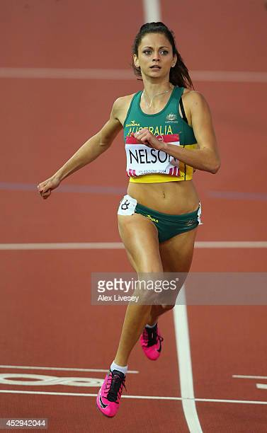 Ella Nelson of Australia competes the Women's 200 metres heats at Hampden Park during day seven of the Glasgow 2014 Commonwealth Games on July 30...