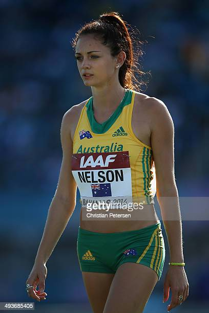 Ella Nelson of Australia prepares to compete in the Women's 4x100 metres relay during day one of the IAAF World Relays at the Thomas Robinson Stadium...