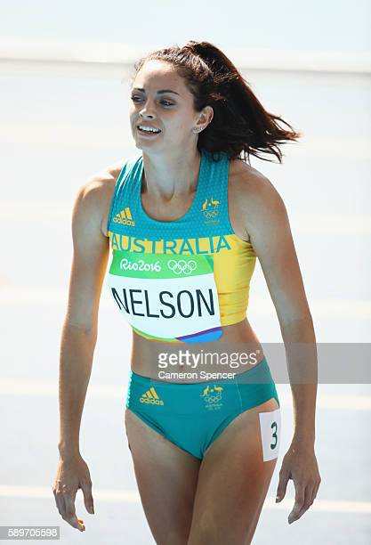 Ella Nelson of Australia reacts after competing in round one of the Women's 200m on Day 10 of the Rio 2016 Olympic Games at the Olympic Stadium on...