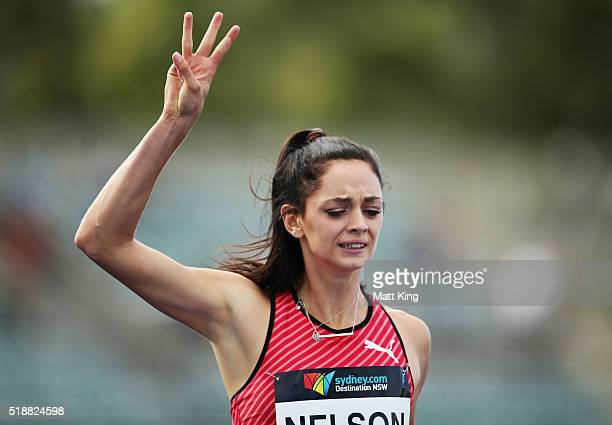 Ella Nelson of New South Wales celebrates winning the Women's 200m final during the Australian Athletics Championships at Sydney Olympic Park on...
