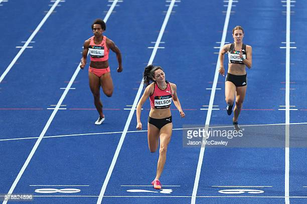 Ella Nelson of New South Wales competes in the womens 200m prelim final during the Australian Athletics Championships at Sydney Olympic Park on April...