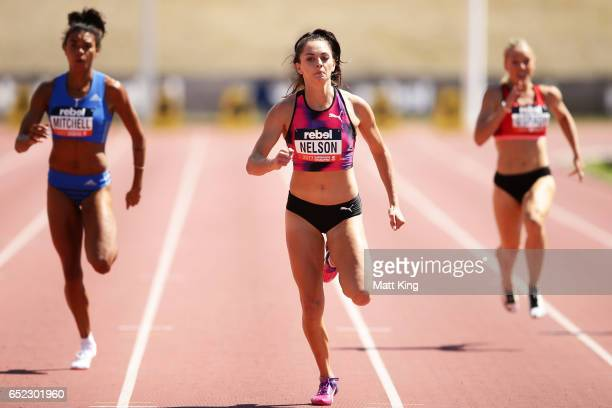 Ella Nelson of NSW competes in the Women's 200m A Final during the SUMMERofATHS Grand Prix on March 12 2017 in Canberra Australia