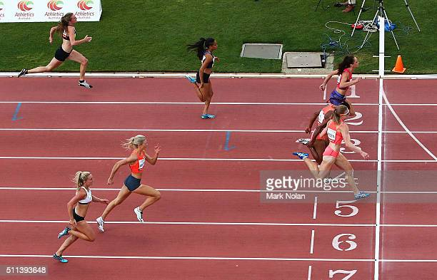 Ella Nelson of NSW Toea Wisil of PNG and Melissa Breen of ACT cross the line together in the Womens 100 Metre Race during the Canberra Track Classic...