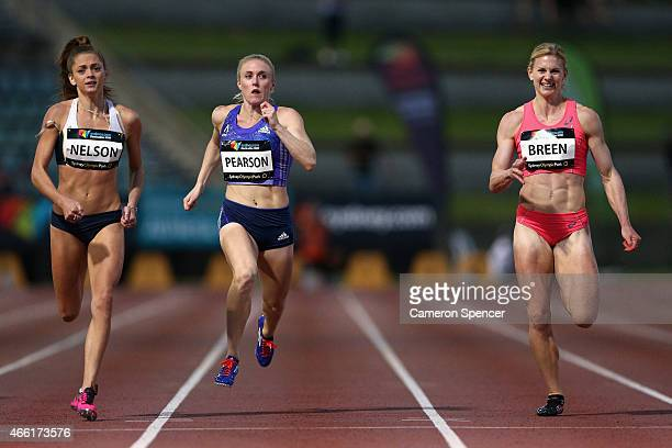 Ella Nelson of VictoriaSally Pearson of Queensland and Melissa Breen of the ACT compete in the womens 200m final during the Sydney Track Classic at...