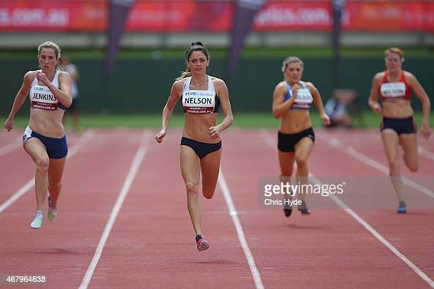 Ella Nelson runs in the Womens Open 200m heats during the Australian Athletics Championships at the Queensland Sports and Athletics Centre on March...