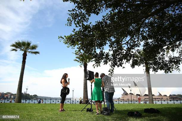 Ella Nelson talks to media during the Australian Athletics Championships Launch on March 13 2017 in Sydney Australia