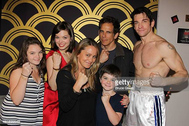 Ella Olivia Stiller Margot Seibert as 'Adrian' Christine Taylor Ben Stiller Quinlin Dempsey Stiller and Andy Karl as 'Rocky Balboa' pose backstage at...