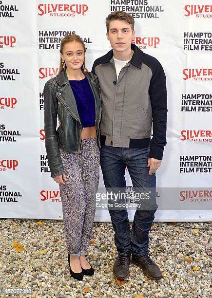 Ella Purnell and Nolan Gerard Funk attend the Chairmans Reception during the 2014 Hamptons International Film Festival on October 11 2014 in East...