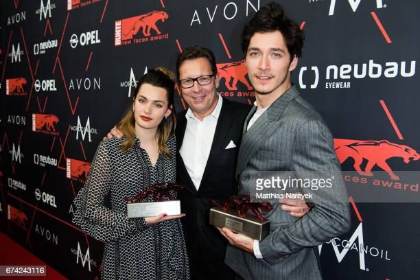 Ella Rumpf Robert Poelzer and Noah Saavedra attend the New Faces Award Film at Haus Ungarn on April 27 2017 in Berlin Germany