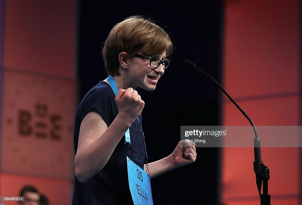 Ella Scheuermann of Grafenwoehr, Germany, celebrates after she correctly spelled her word in round three of the 2016 Scripps National Spelling Bee May 25, 2016 in National Harbor, Maryland. Students from across the country gathered to compete for top honor of the annual spelling championship.