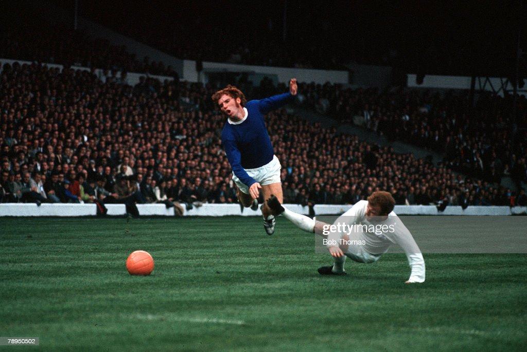 Elland Road, Leeds, Leeds United v Everton, Leeds captain Billy Bremner brings down Everton's Alan Ball with a foul challenge from behind
