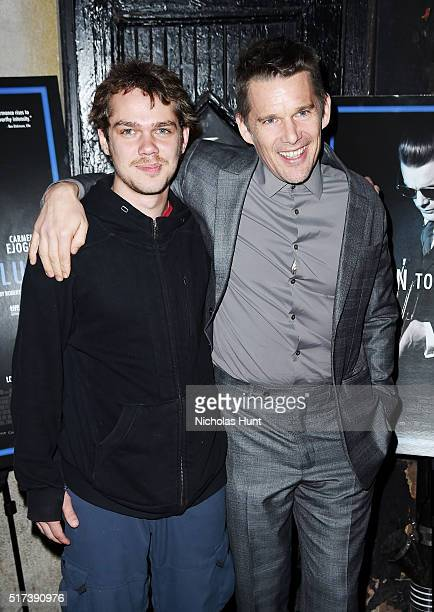 Ellar Coltrane and Ethan Hawke attend the 'Born To Be Blue' New York Screening at Blue Note Jazz Club on March 24 2016 in New York City