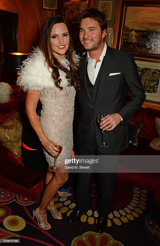 Elle Caring (L) and Ben Caring attend a private dinner hosted by Fawaz Gruosi, founder of de Grisogono, at Annabels on April 28, 2016 in London, England.