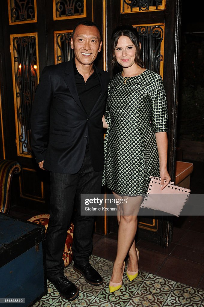 Elle creative director <a gi-track='captionPersonalityLinkClicked' href=/galleries/search?phrase=Joe+Zee&family=editorial&specificpeople=2257766 ng-click='$event.stopPropagation()'>Joe Zee</a> and Katie Lowes (R) attend an intimate dinner event hosted by Elle magazine and J Brand at Petit Ermitage Hotel on September 25, 2013 in West Hollywood, California.